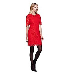 Yumi - red Floral Lace Shift Dress