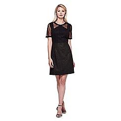 Yumi - black Metallic Skater Dress With Short Sleeves