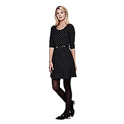 Yumi - black Skater Dress With Spot Print