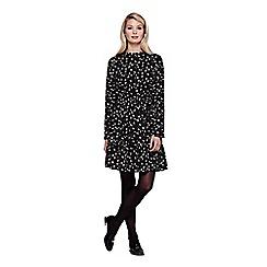 Yumi - black Long Sleeve Tea Dress With Floral Print