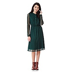 Yumi - green Lace Midi Dress With Long Sleeves