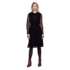 Yumi - black Lace Midi Dress With Long Sleeves