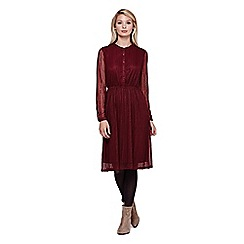 Yumi - red Lace Midi Dress With Long Sleeves