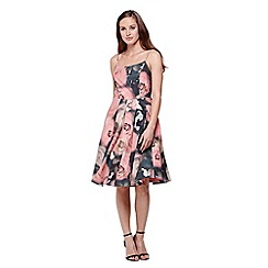 Yumi - Multicoloured  Prom Midi  Dress With Floral Print