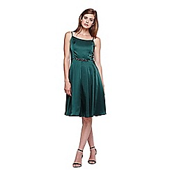 Yumi - green Diamante Detail Strappy Prom Dress