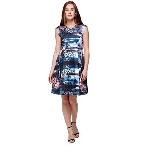 Yumi Multicoloured  Party Midi Dress With Sunset Print