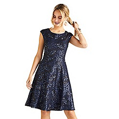 Yumi - blue Skater Dress With Sequins