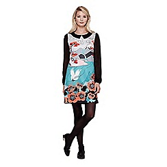 Yumi - Multicoloured  Collared Shift Dress With Japanese Crane Print