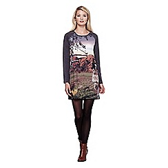 Yumi - Multicoloured  Owl Printed Jersey Tunic Dress