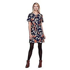 Yumi - blue Tunic Dress With Blossom Print