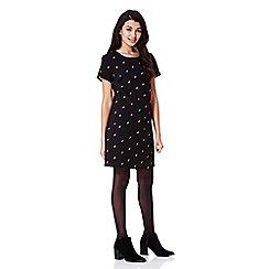 Yumi - black Tunic Dress With Robin Print