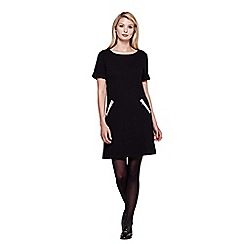 Yumi - Black Textured Zip Pocket Shift Dress