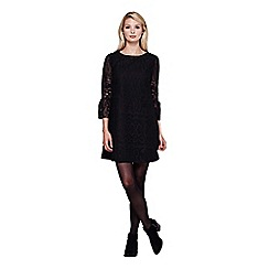 Yumi - Black Bell Sleeve Lace Shift Dress