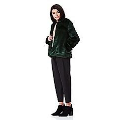 Yumi - green Fluffy Collarless Jacket