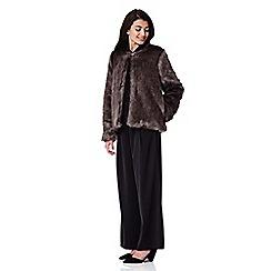 Yumi - grey Fluffy Collarless Jacket
