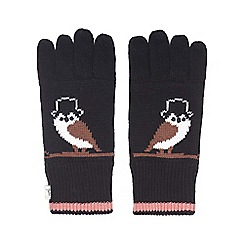 Yumi - Black Owl Knit Gloves