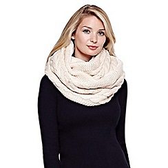 Yumi - Cream Chunky Knit Snood With Faux Fur