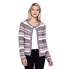 Yumi - grey Fluffy Stripe Cardigan
