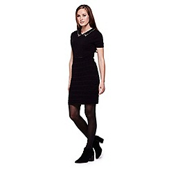 Yumi - black Knit Dress With Embellishments