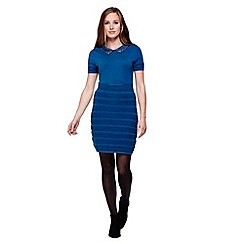 Yumi - blue Knit Dress With Embellishments