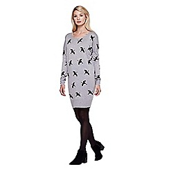 Yumi - grey Tunic Jumper Dress With Crane Print