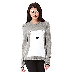 Yumi - Grey Polar Bear Christmas Jumper