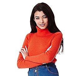Yumi - orange Rib Jumper With Roll Neck