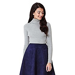Yumi - grey Rib Jumper With Roll Neck