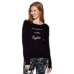 Yumi - black Jumper With Embroidered Slogan