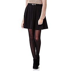 Yumi - black Flared Belt Skirt