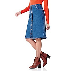 Yumi - Blue Denim Skirt With Buttons
