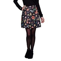 Yumi - black Textured Skater Skirt With Botanical Print