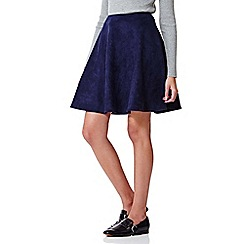 Yumi - blue Suedette Flared Skirt