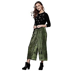 Yumi - Green pleated velvet culottes