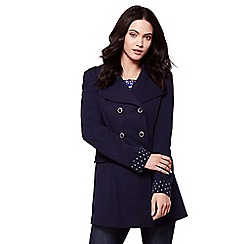 Yumi - Blue double breasted ponte trench coat