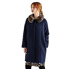 Yumi - Blue faux fur collar swing coat