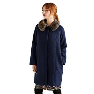 Yumi Blue faux fur collar swing coat