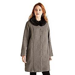 Yumi - Brown woven faux fur coat