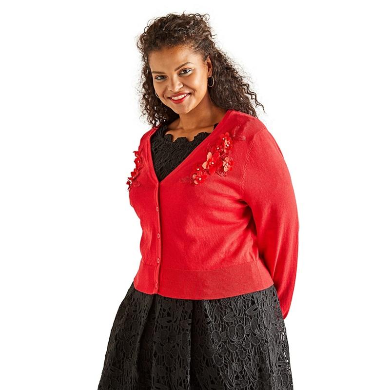 ad1c4493424 Yumi Curves - Red Flower Applique Bolero Cardigan