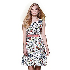 Yumi - Ivory floral sleeveless belt dress