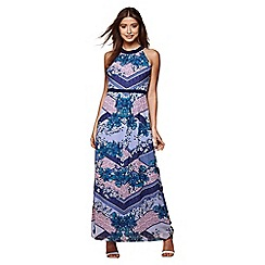 Yumi - Blue scarf print georgette maxi dress