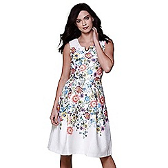 Yumi - Ivory floral v neck occasion dress
