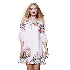 Yumi - Ivory floral print flared sleeve tunic dress