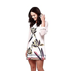 Yumi - Ivory floral brush stroke tunic dress