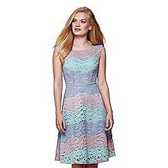 Yumi - Green three tone stripe lace dress