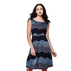 Yumi - Blue three tone stripe lace dress