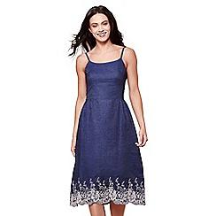 Yumi - Blue denim embroidered strappy midi dress