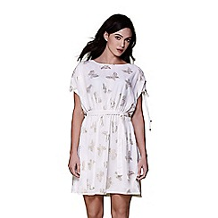 Yumi - Ivory foil butterfly sheer day dress