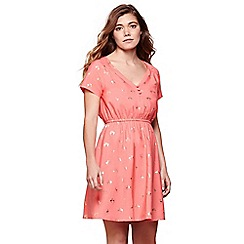Yumi - Pink gold foil flamingo tea dress