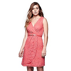 Yumi - Pink lace wrap front belted dress